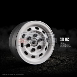 Gmade 1.9 SR02 Beadlock Stamped Steel Wheels WHITE