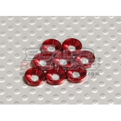 Anodised Aluminum M3 Countersunk head Washers RED (8)