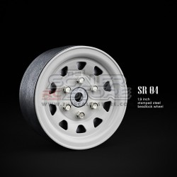 Gmade 1.9 SR04 Beadlock Stamped Steel Wheels GLOSS WHITE