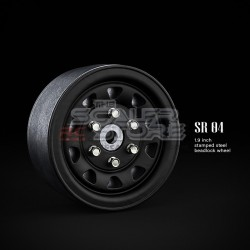 Gmade 1.9 SR04 Beadlock Stamped Steel Wheels MATT BLACK