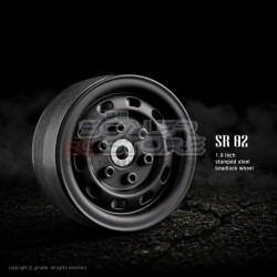 Gmade 1.9 SR02 Beadlock Stamped Steel Wheels MATT BLACK